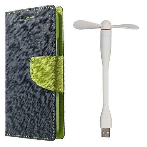 Wallet Flip Case Back Cover For Lenovo A7000 - (Blue)+Flexible Stylish Mini USB Fan in White color By Style Crome