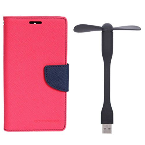 Wallet Flip Case Back Cover For HTC526 - (Pink)+Flexible Stylish Mini USB Fan in Black color By Style Crome