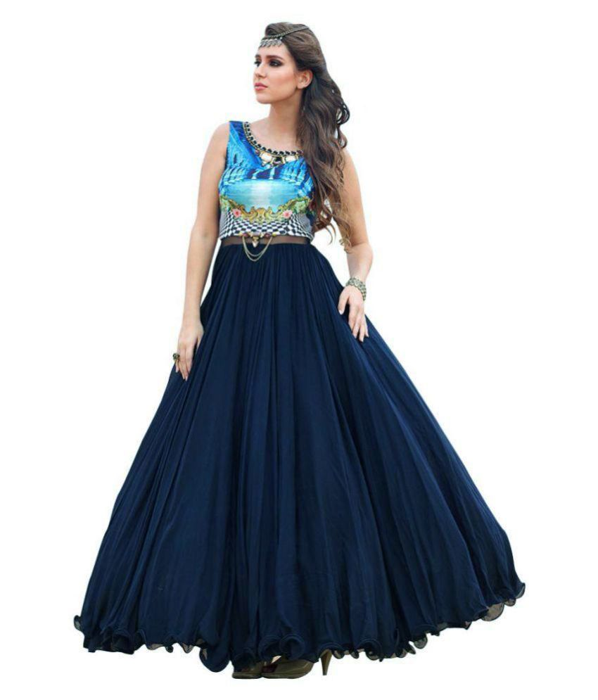 Awesome Blue Silk Ball gowns Price in India | Buy Awesome Blue Silk ...