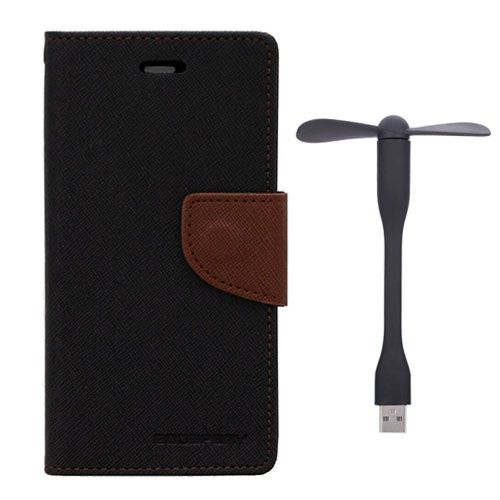 Wallet Flip Case Back Cover For Micromax A104 - (Blackbrown)+Flexible Stylish Mini USB Fan in Black color By Style Crome