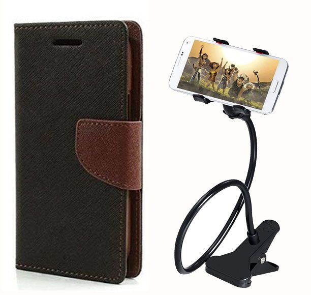 Fancy Flip Back Cover For Asus Zenfone Selfie (Black Brown) + 360 Rotating Bed Mobile lazy stand by  style crome.