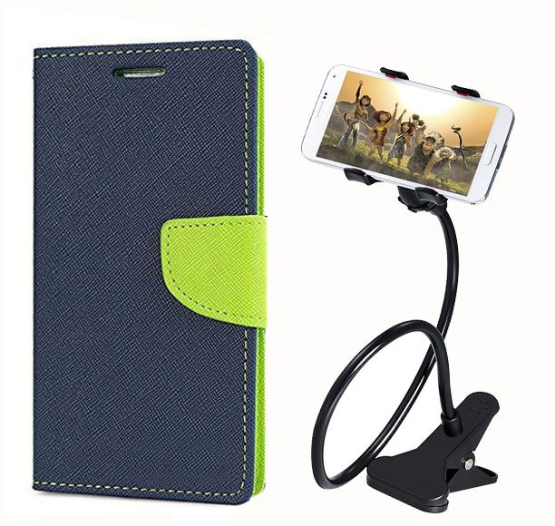 Fancy Flip Back Cover For HTC Desire 526G+ Dual Sim (Blue) + 360 Rotating Bed Mobile lazy stand by  style crome.