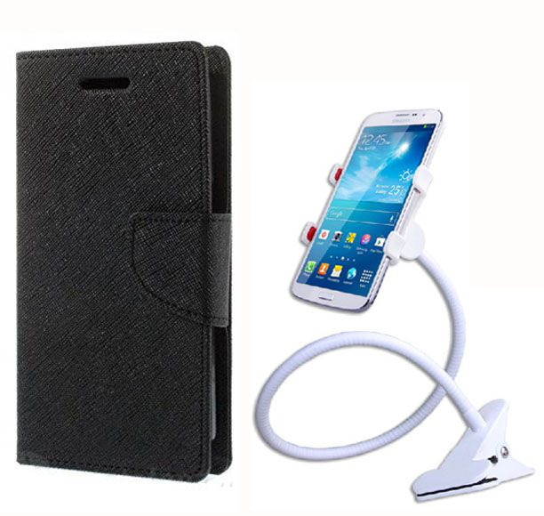 Fancy Flip Back Cover For LG Google Nexus 5 (Black Brown) + 360 Rotating Bed Mobile lazy stand by  style crome.