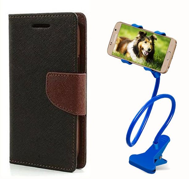Fancy Flip Back Cover For Samsung Galaxy Z1 (Black Brown) + 360 Rotating Bed Mobile lazy stand by  style crome.