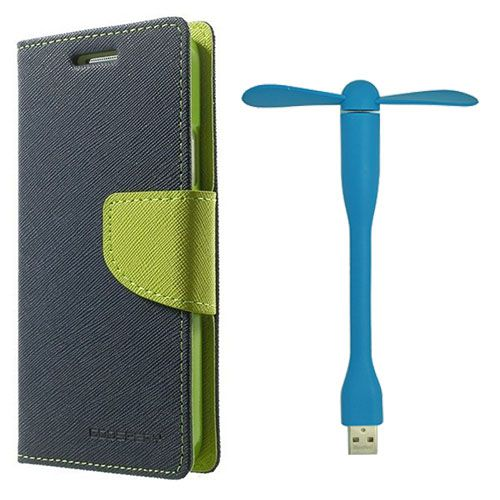 Wallet Flip Case Back Cover For HTC826 - (Blue)+Flexible Stylish Mini USB Fan in Blue color By Style Crome