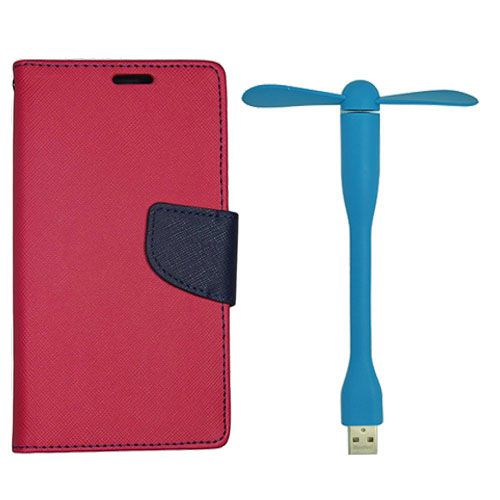 Wallet Flip Case Back Cover For Nokia 520 - (Red)+Flexible Stylish Mini USB Fan in Blue color By Style Crome