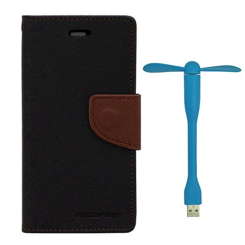 Wallet Flip Case Back Cover For Apple I phone 5 - (Blackbrown)+Flexible Stylish Mini USB Fan in Blue color By Style Crome