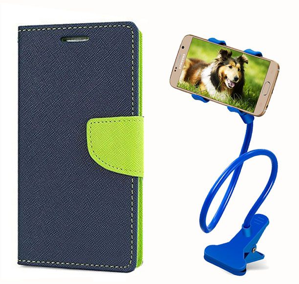 Fancy Flip Back Cover For Sony Xperia T3 (Blue) + 360 Rotating Bed Mobile lazy stand by  style crome.