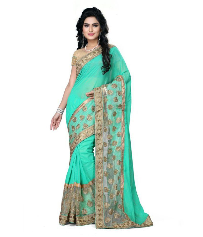 Themorris Green Georgette Saree