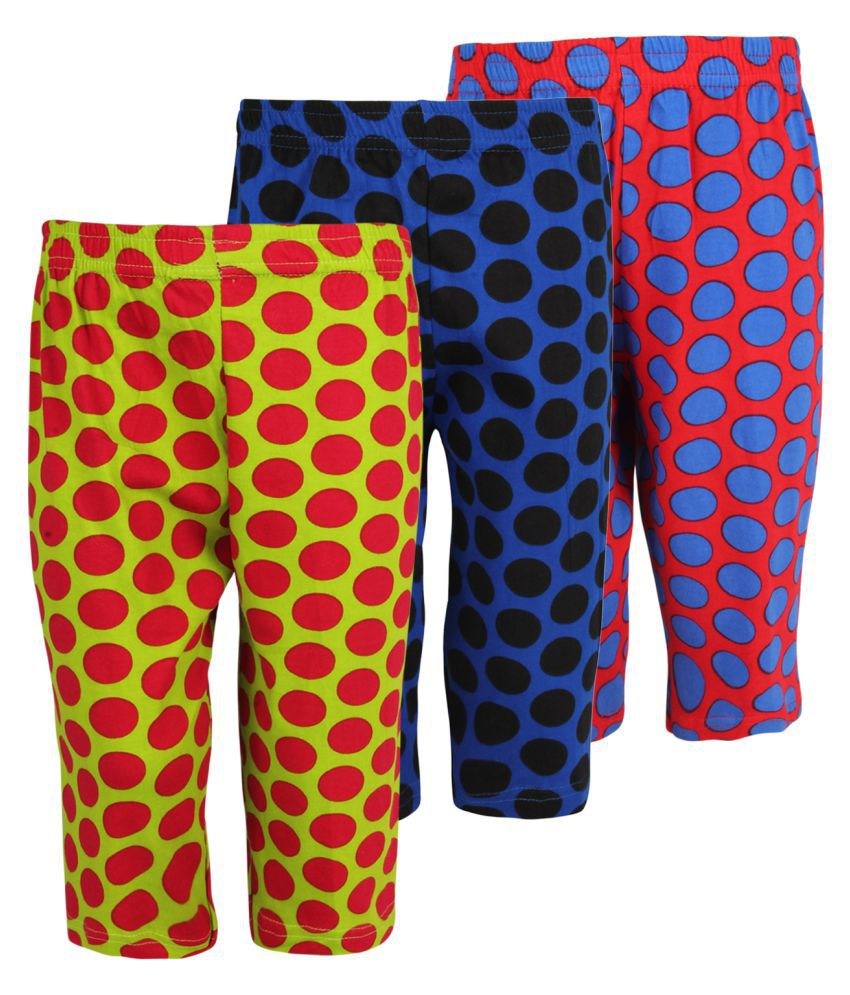 Weecare Multicolor Cototn Capris - Pack of 3