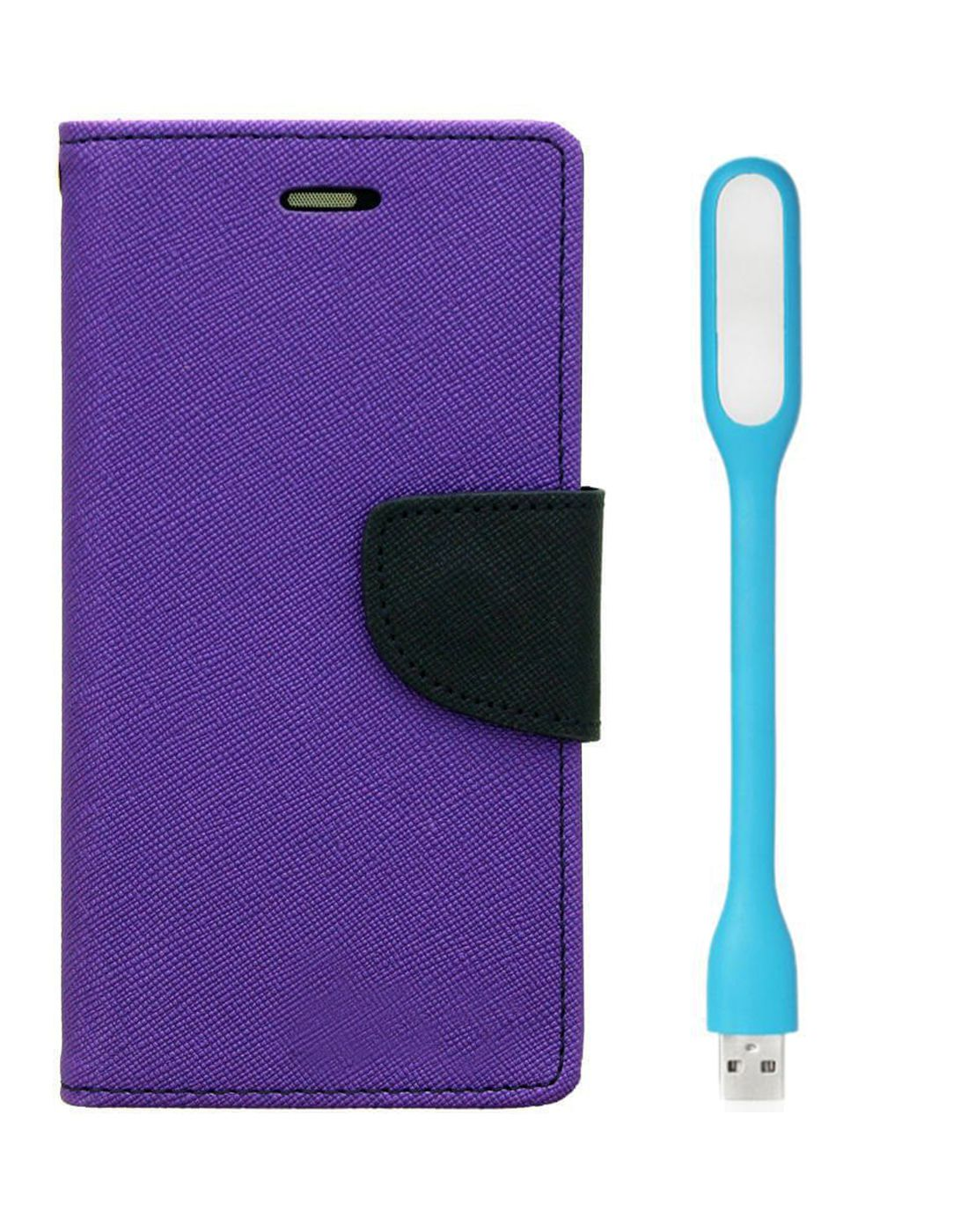 Wallet Flip Case Back Cover For Micromax A116 - (Purple) + Flexible Mini LED Stick Lamp Light By Style Crome