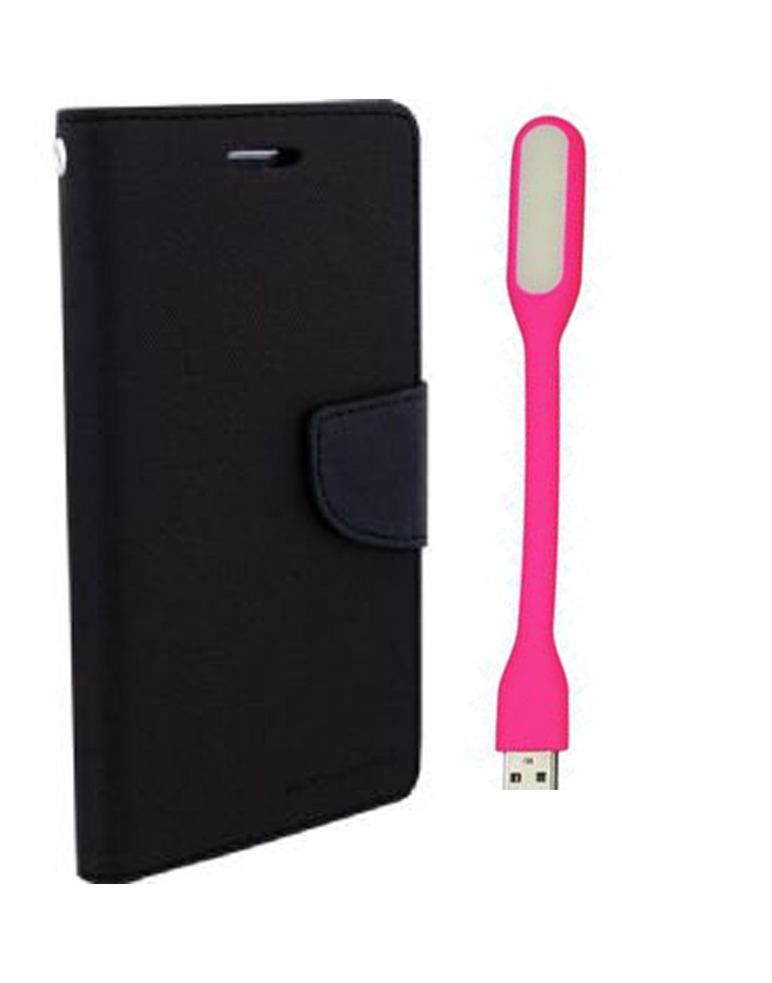 Wallet Flip Case Back Cover For Micromax A117 -(Black) + Flexible Mini LED Stick Lamp Light By Style Crome