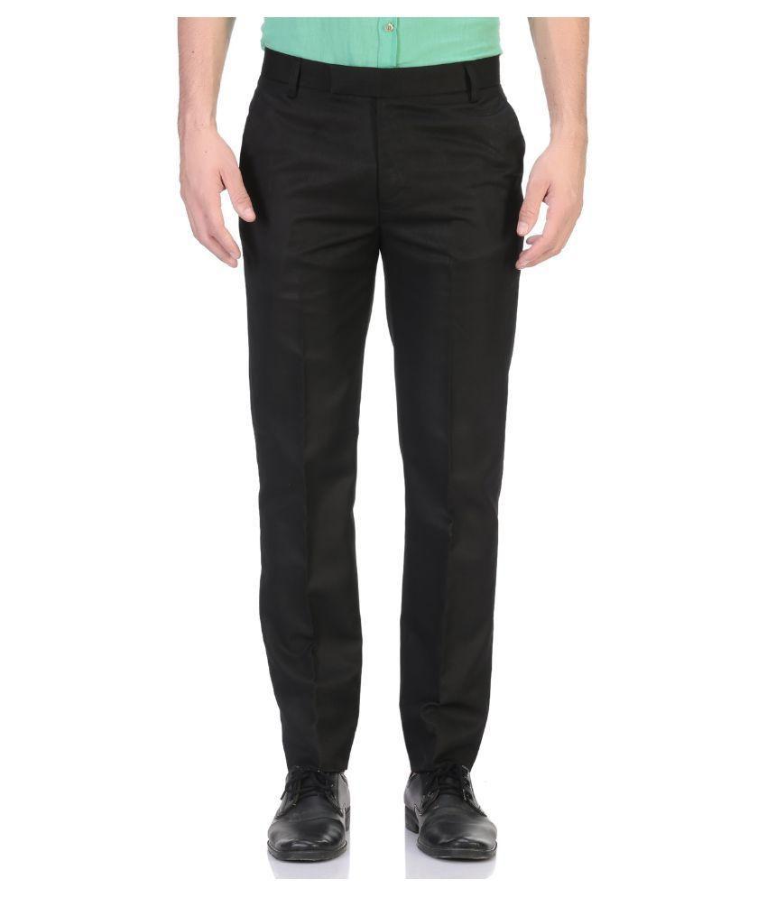 Aragon Black Slim Flat Trouser