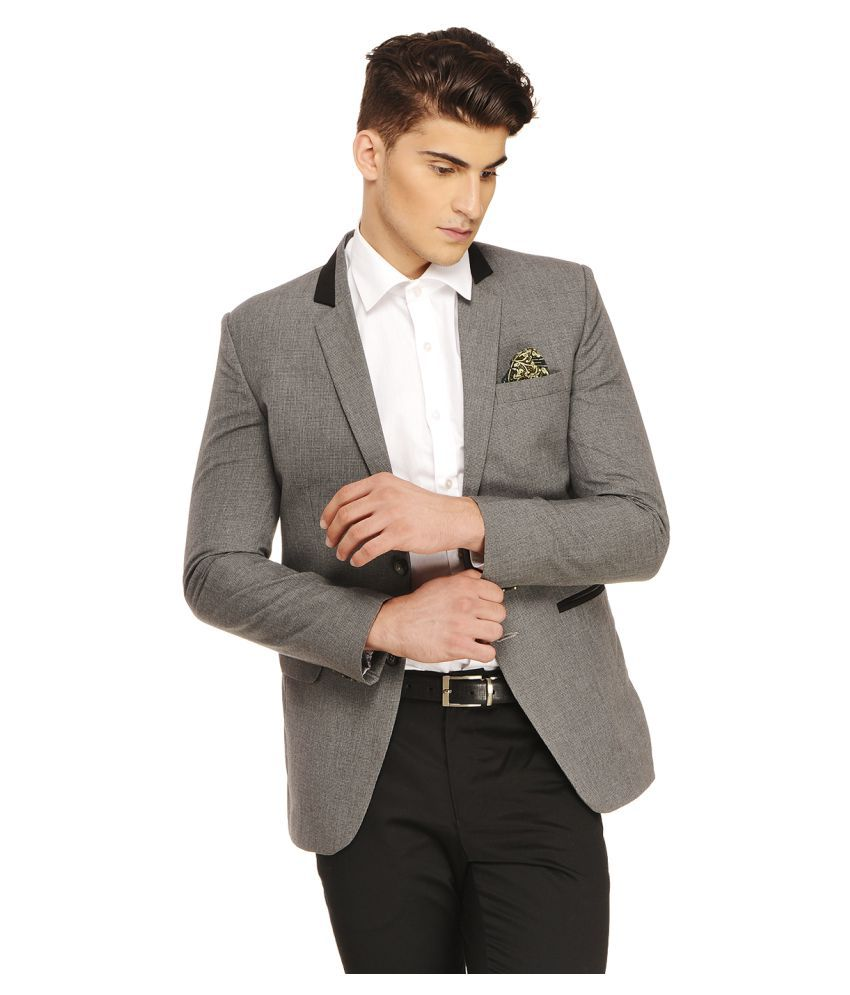 Ennoble Grey Solid Casual 2 Piece Suits