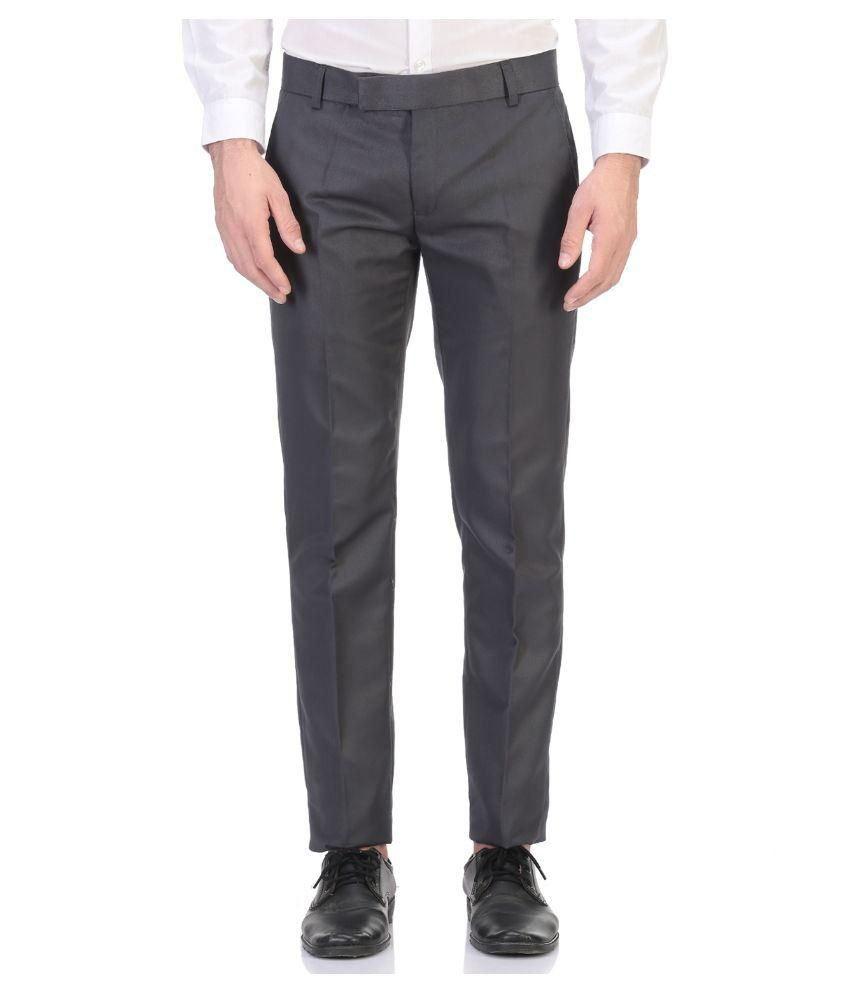 Aragon Grey Slim Flat Trouser