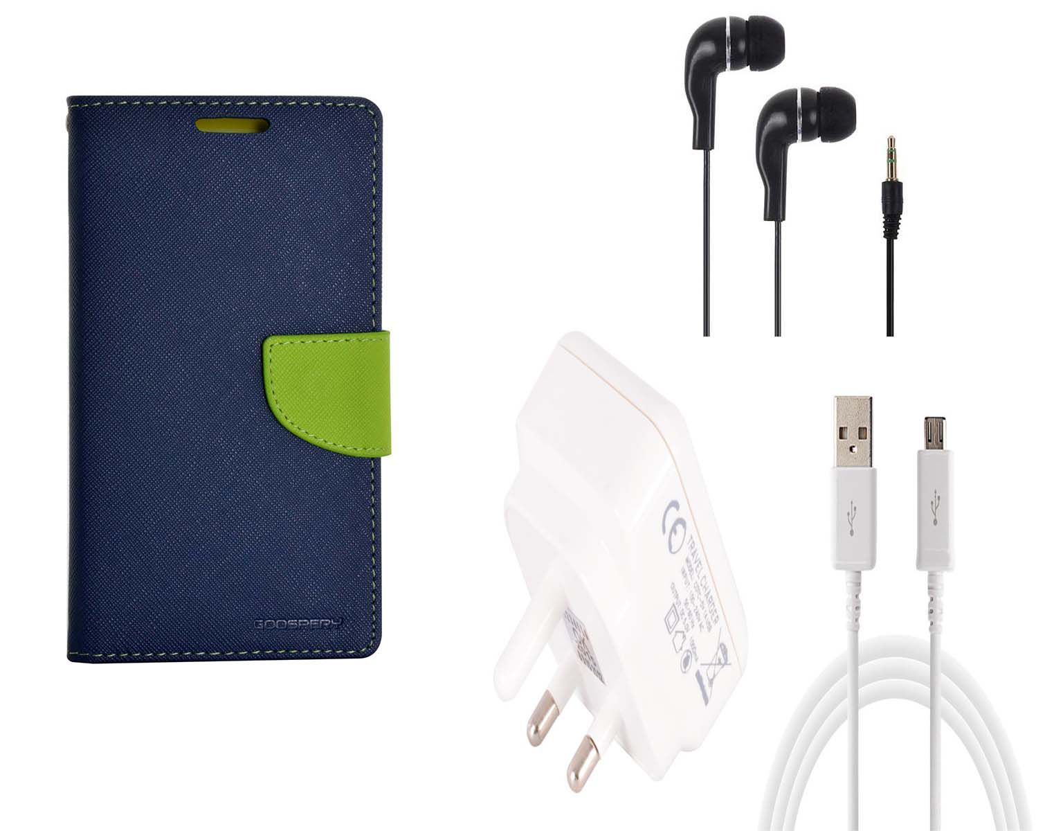 Cell Mates High Quality Leather Flip Cover For Xiaomi Redmi Note 3 Along With USB Charger & Earphone
