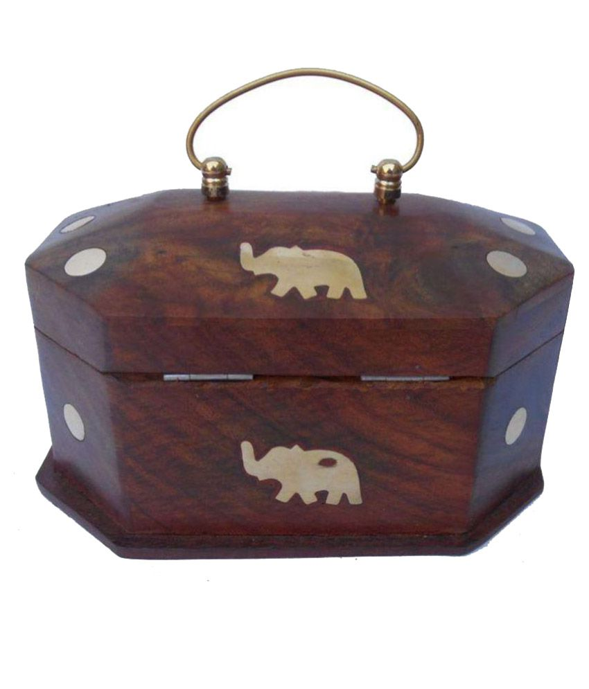 Ikashan Wooden Studded Brown Coloured Jewellery Box