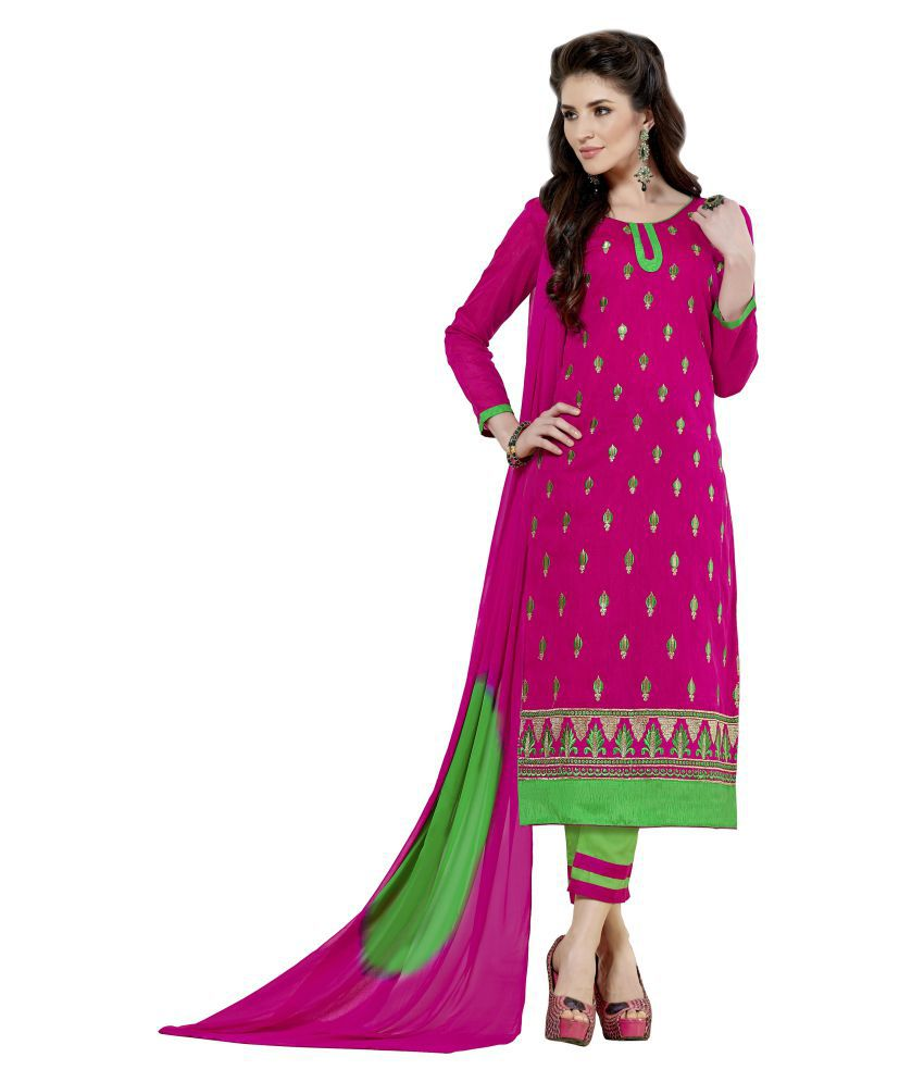 Nikki Fab Pink Chanderi Dress Material