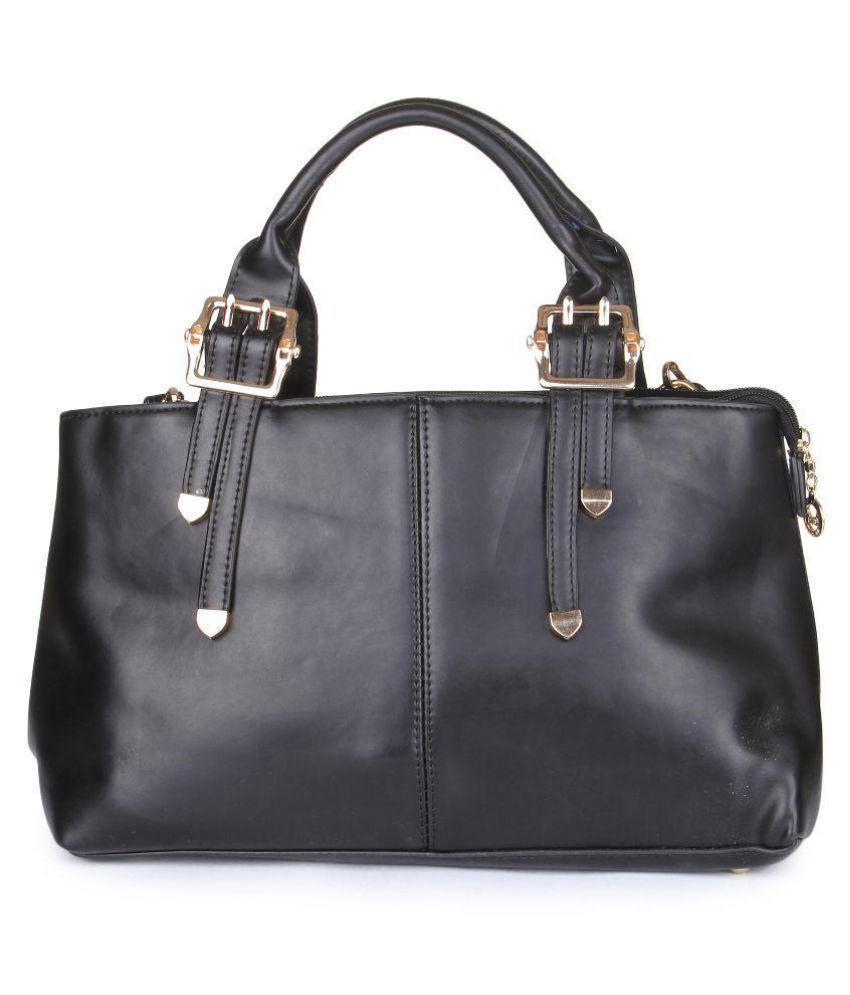 Kleio Black Faux Leather Handheld