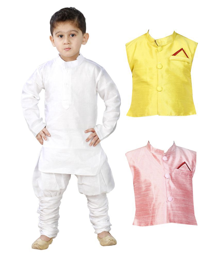 cf298bca6 JBN Creation White Kurta Pyjama with Modi Jacket - Pack of 2 - Buy ...
