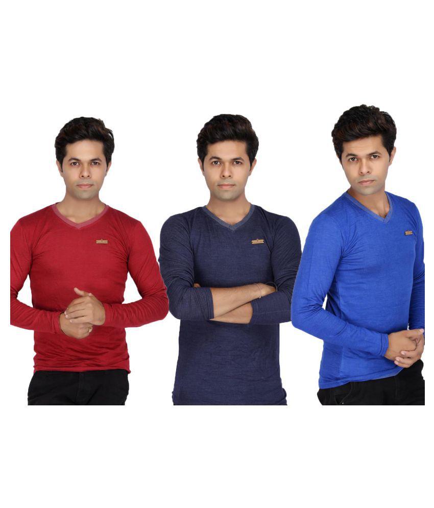 JG Forceman Multi V-Neck T-Shirt Pack of 3