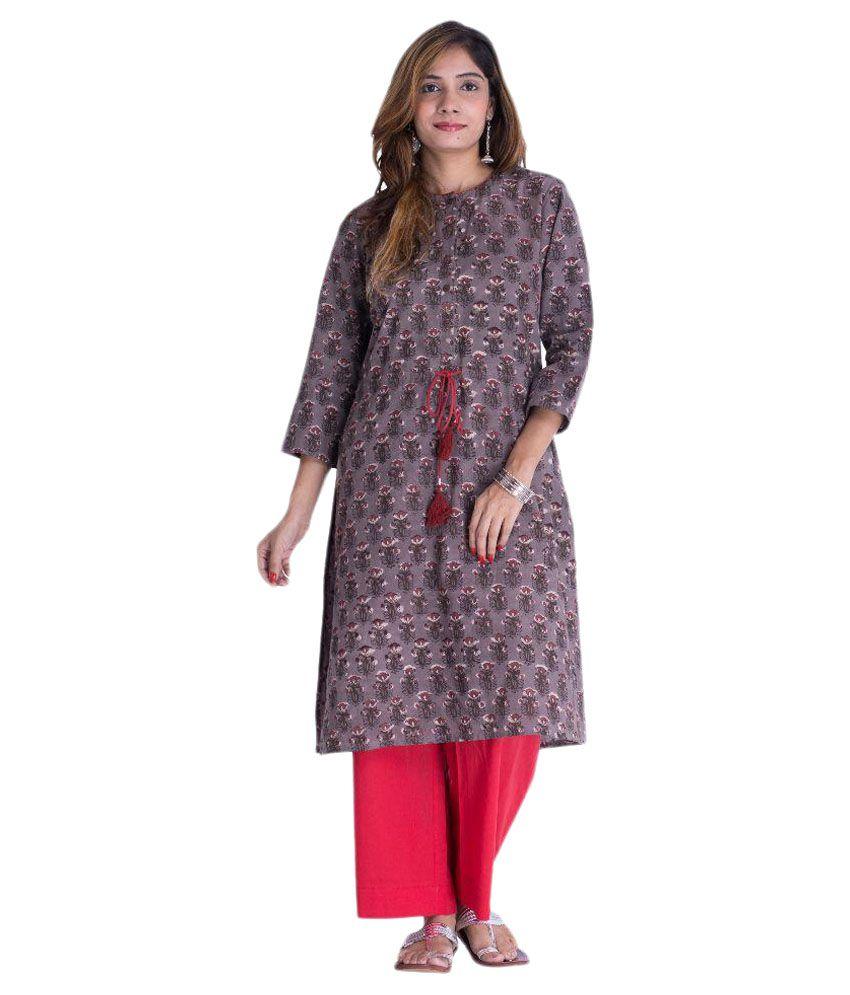 Akshat International Multicoloured Cotton Straight Kurti