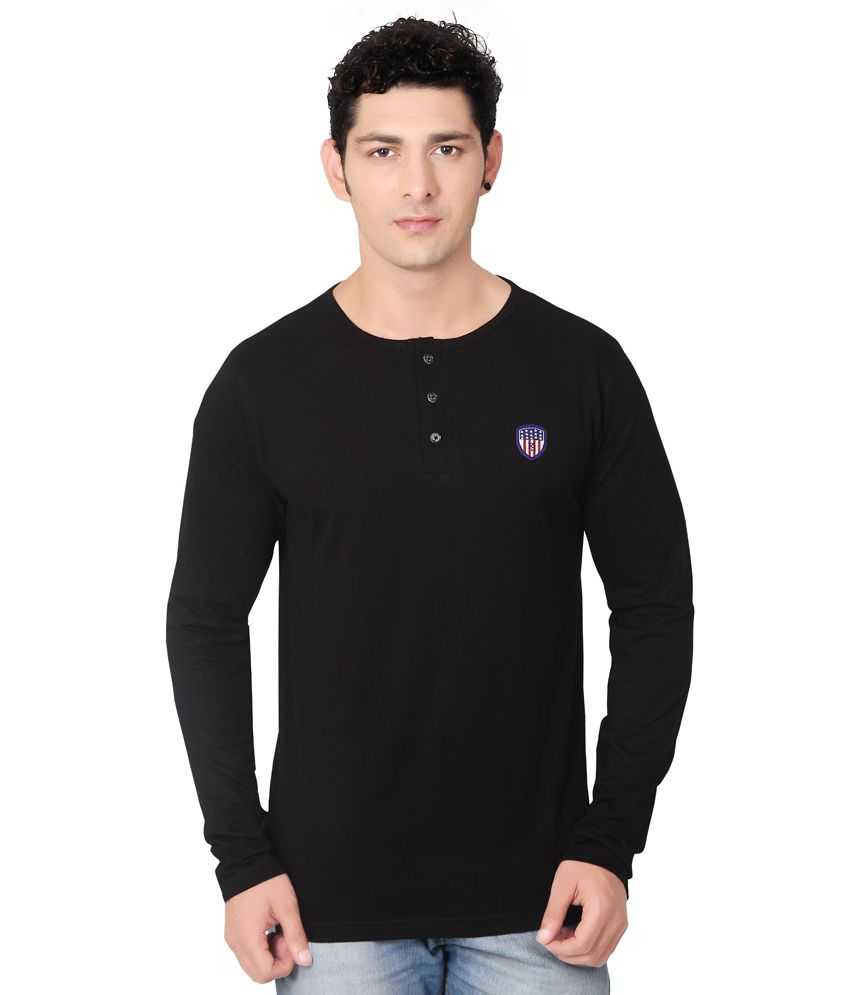 Black t shirt buy online - Free Spirit Black Henley T Shirt