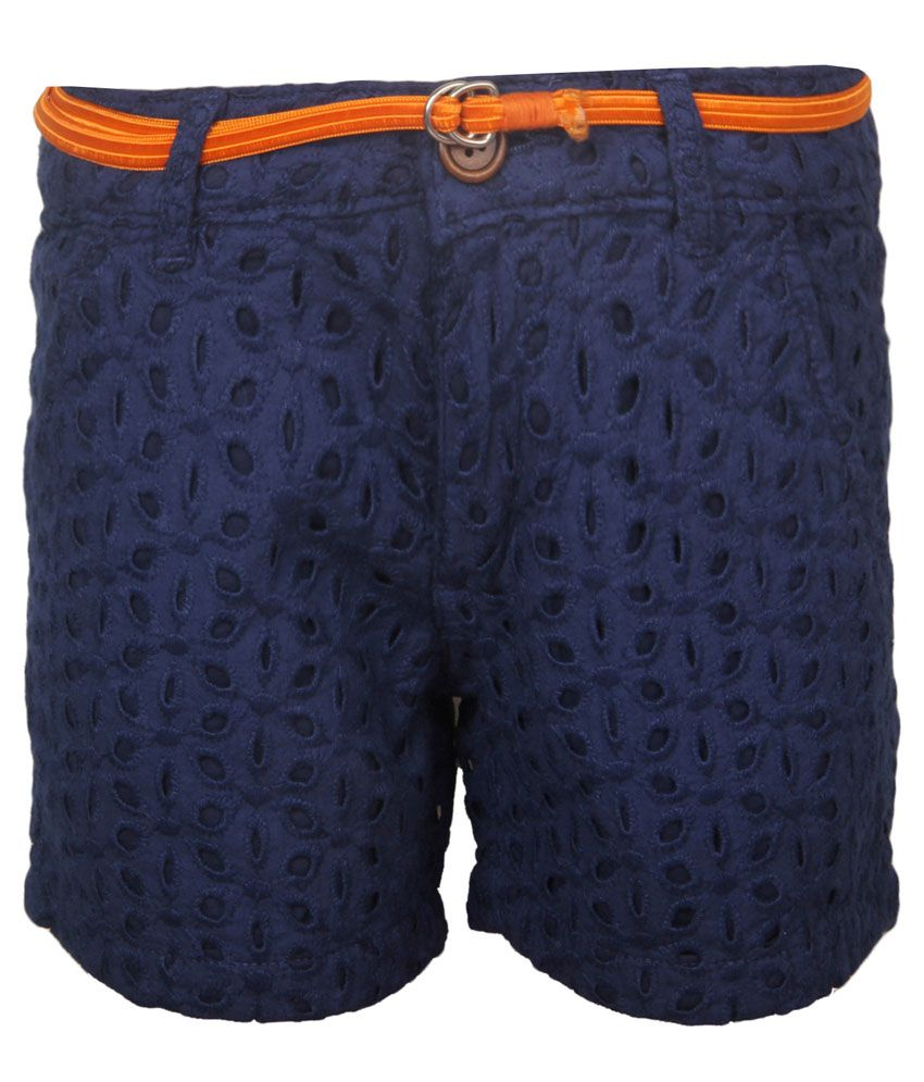 Vitamins Navy Blue Solid Shorts