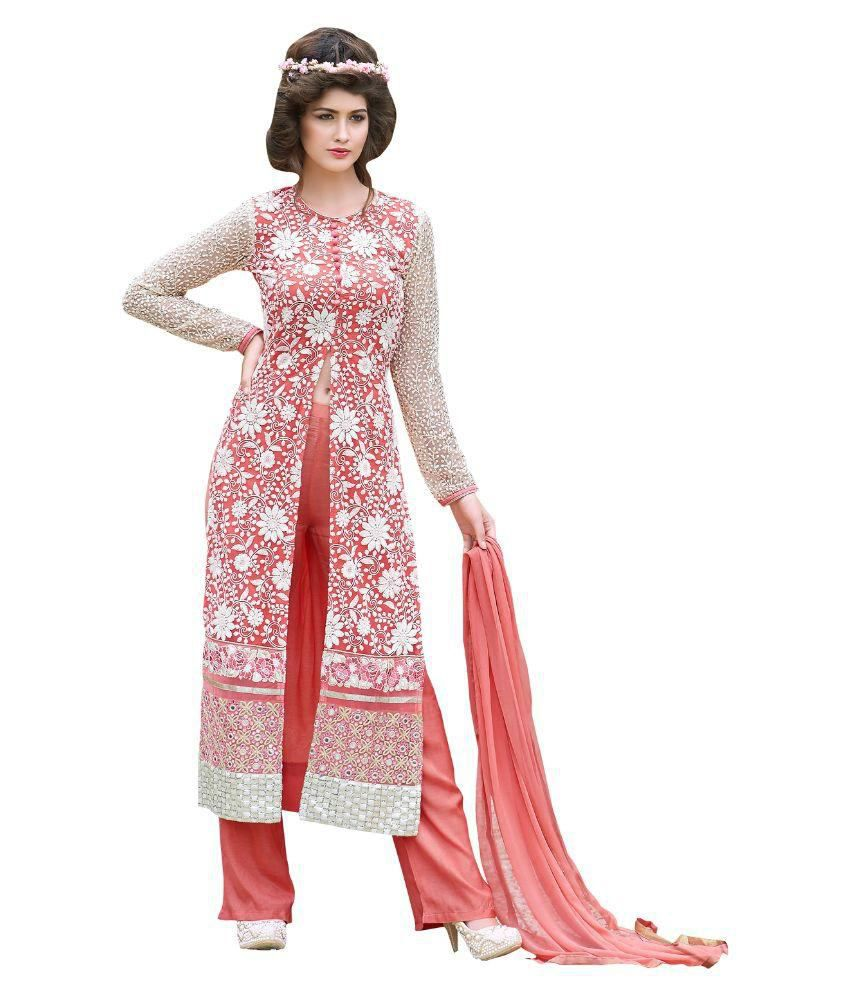 Creation Buddy Pink Georgette Dress Material