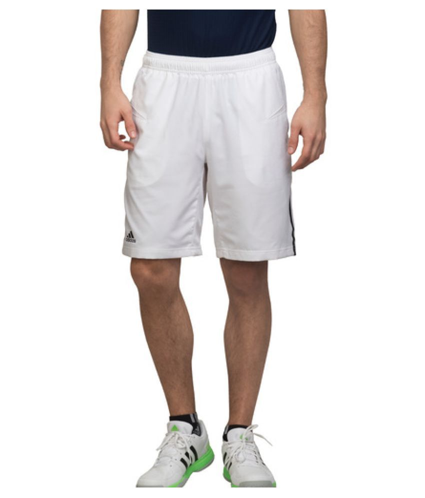 Adidas White Polyster Shorts for Men