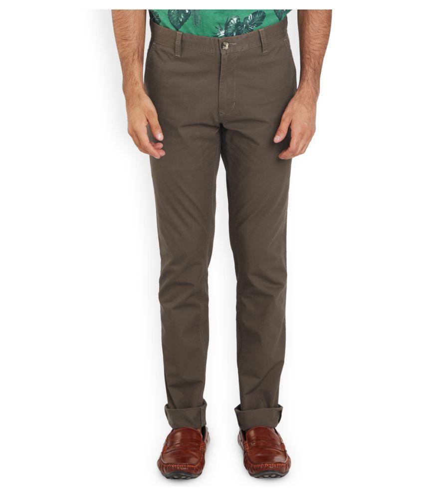 Parx Brown Regular Flat Trouser