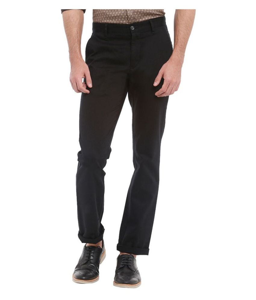Parx Black Slim Flat Trouser