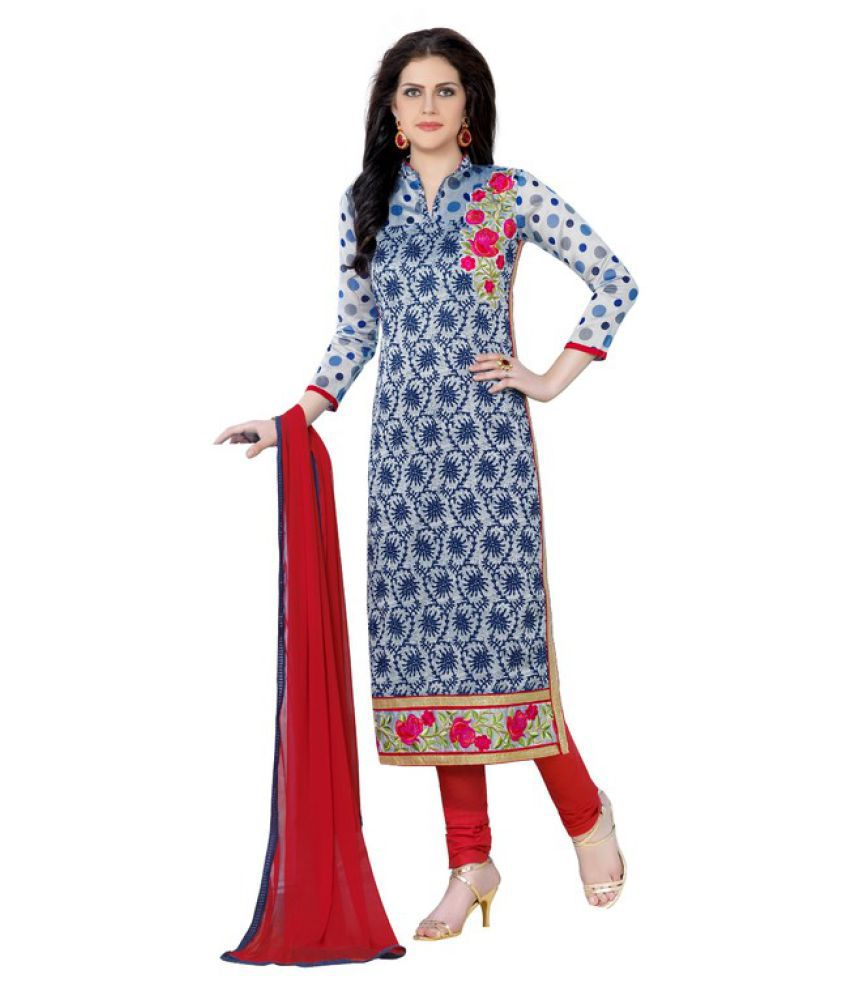 Maroosh Blue and Grey Cotton Blend Straight Semi-Stitched Suit