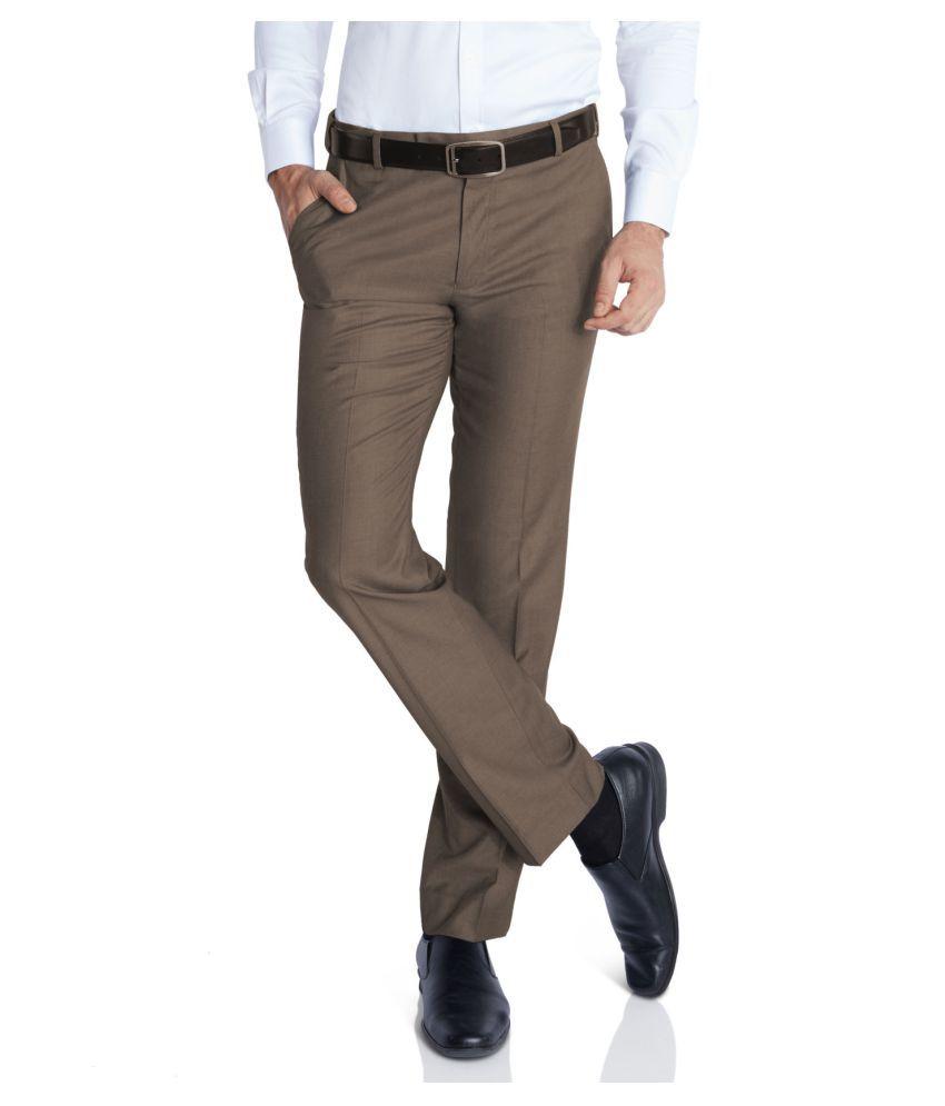 Park Avenue Brown Regular Flat Trouser