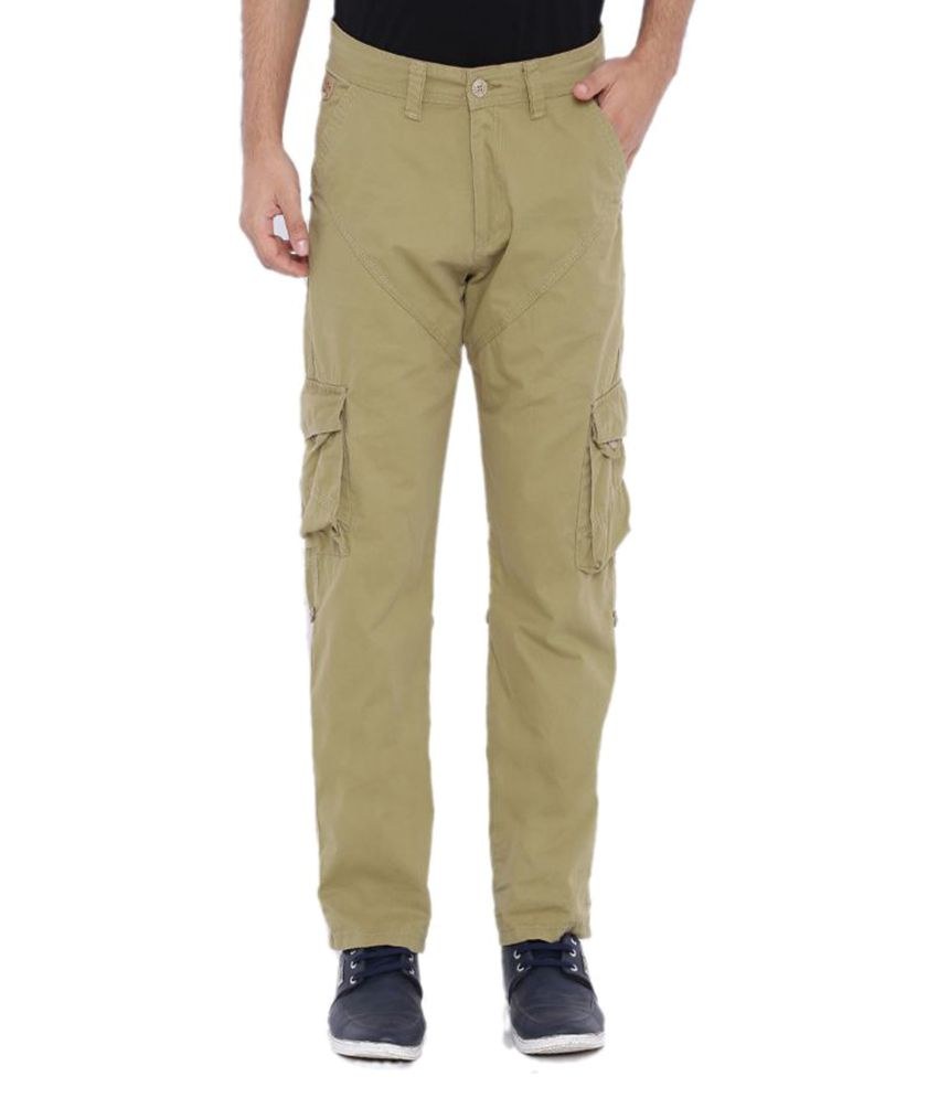 Sports 52 Wear Beige Regular Flat Trouser