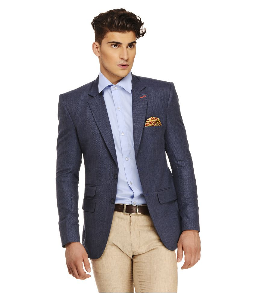 Ennoble Blue Solid Casual Tuxedo