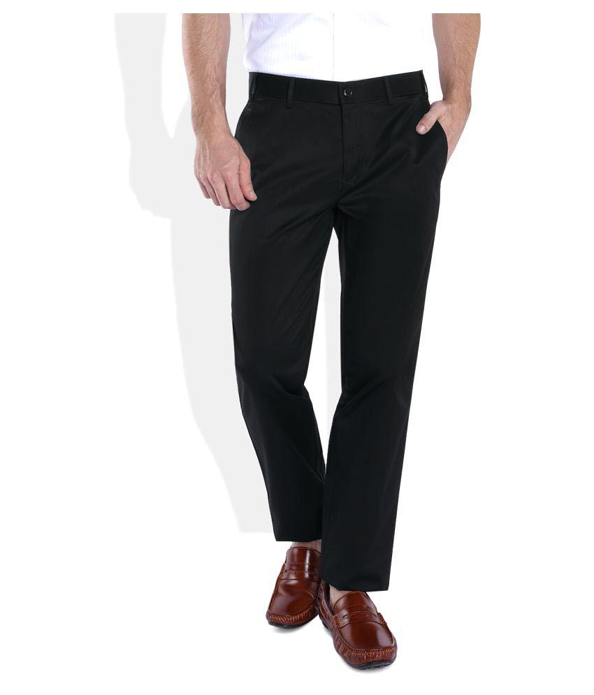 Park Avenue Black Slim Flat Trouser