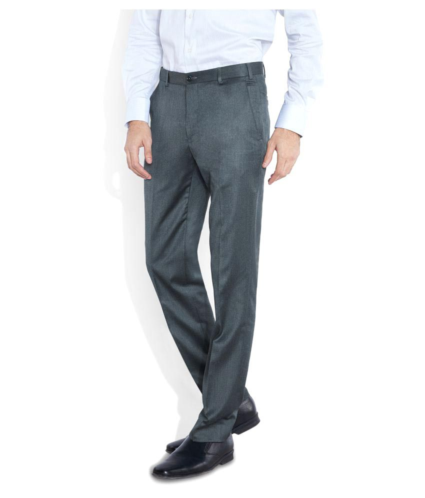 Park Avenue Grey Slim Flat Trouser