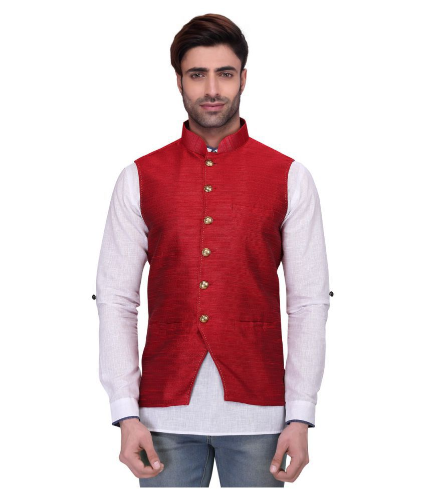 ceb13b163e7 RG Designers Red Silk Nehru Jacket - Buy RG Designers Red Silk Nehru Jacket  Online at Low Price in India - Snapdeal