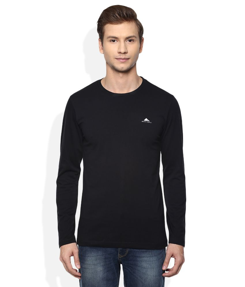 Monte Carlo Black Round Neck Full Solids T-Shirt