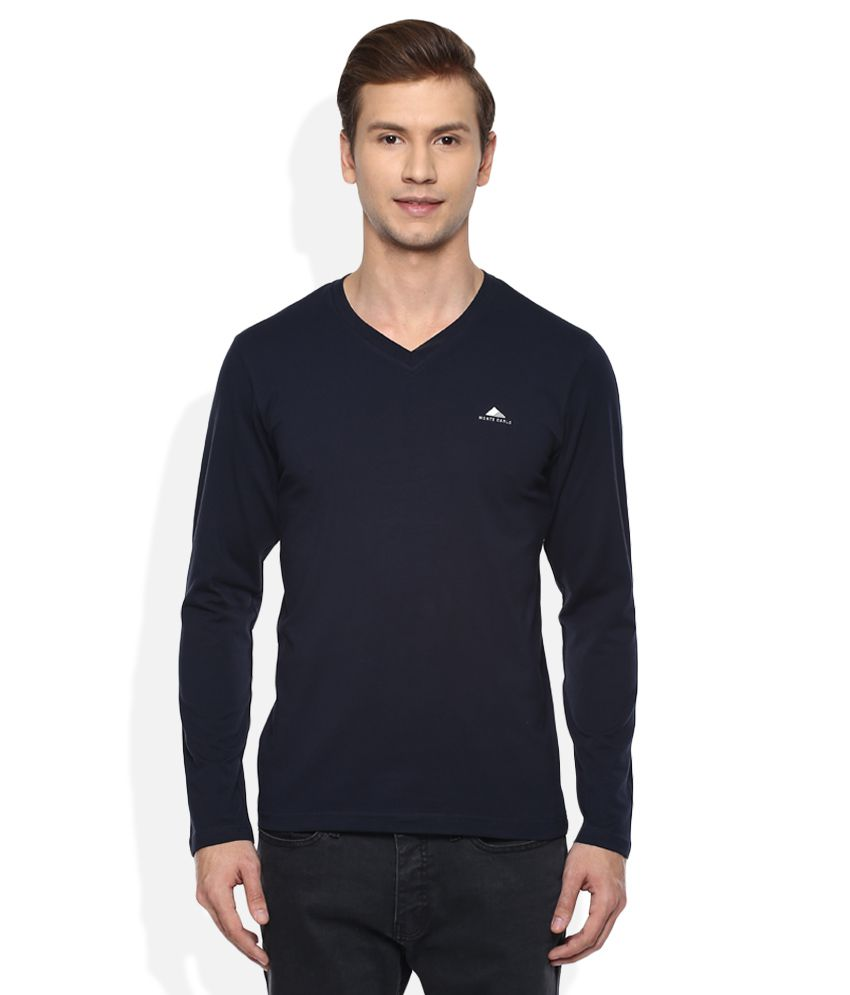 Monte Carlo Navy V-Neck Full Solids T-Shirt