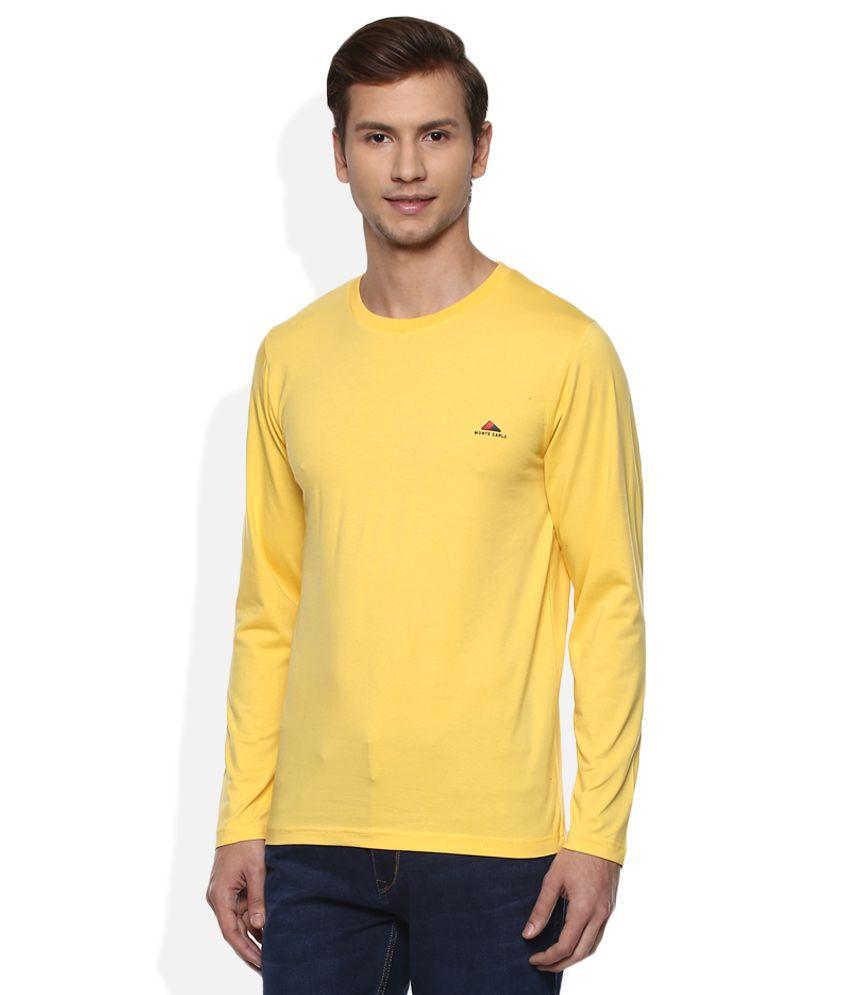 Monte Carlo Yellow Round Neck Full Solids T-Shirt