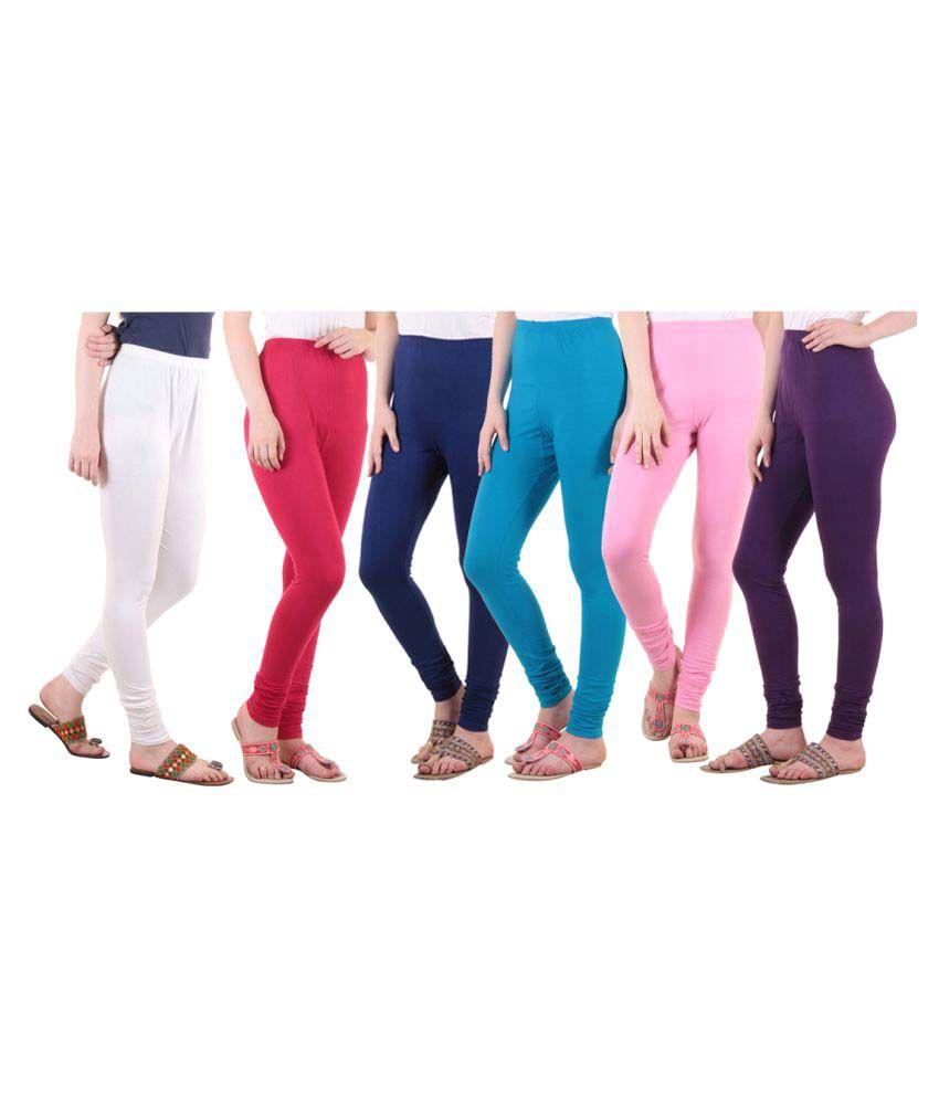 Diaz Cotton Lycra Pack of 6 Leggings
