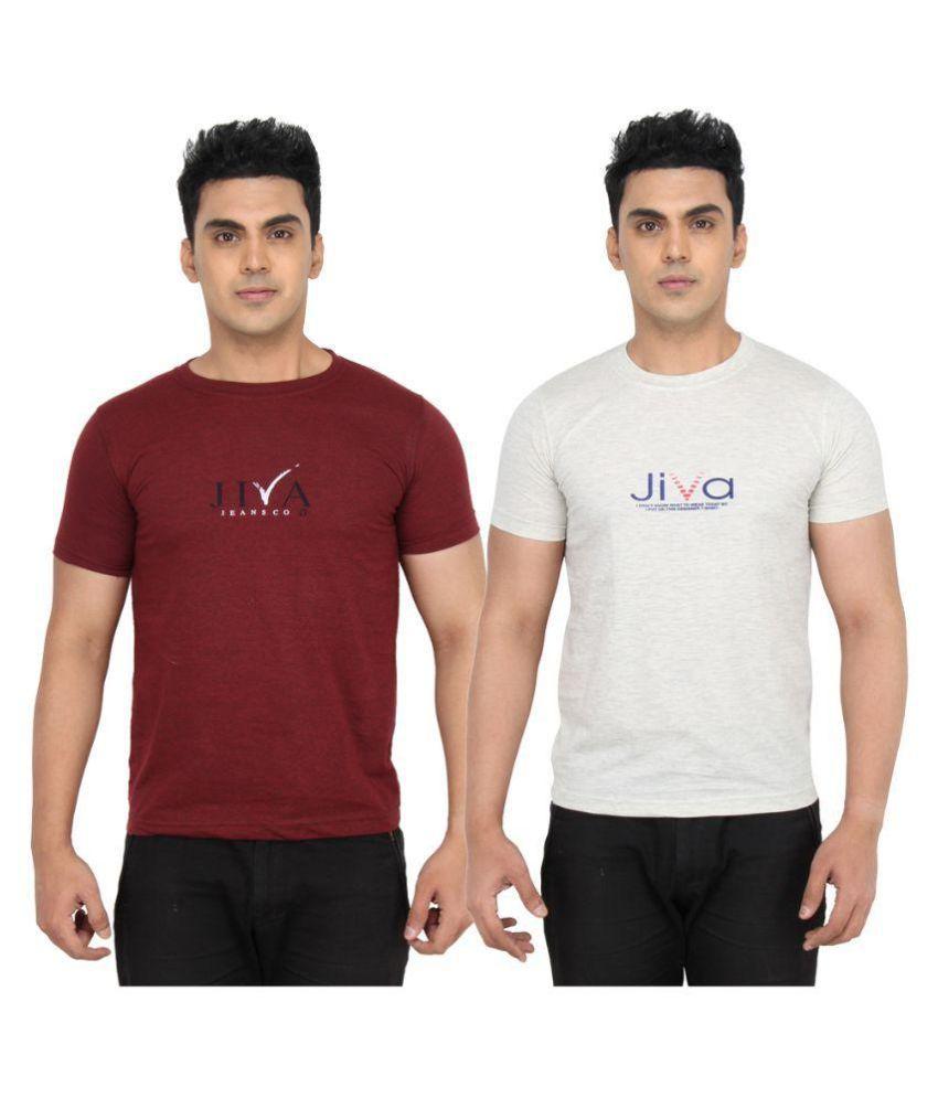 Jiva Multi Round T-Shirt Pack of 2