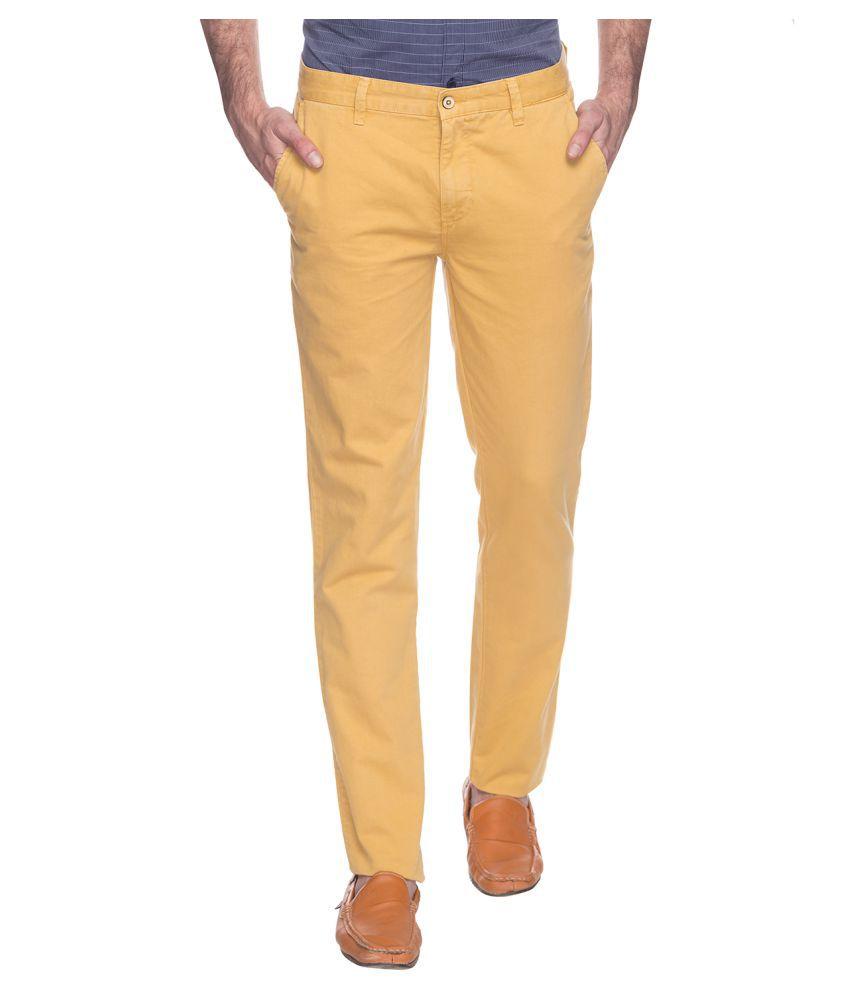 Park Avenue Beige Regular Flat Trouser