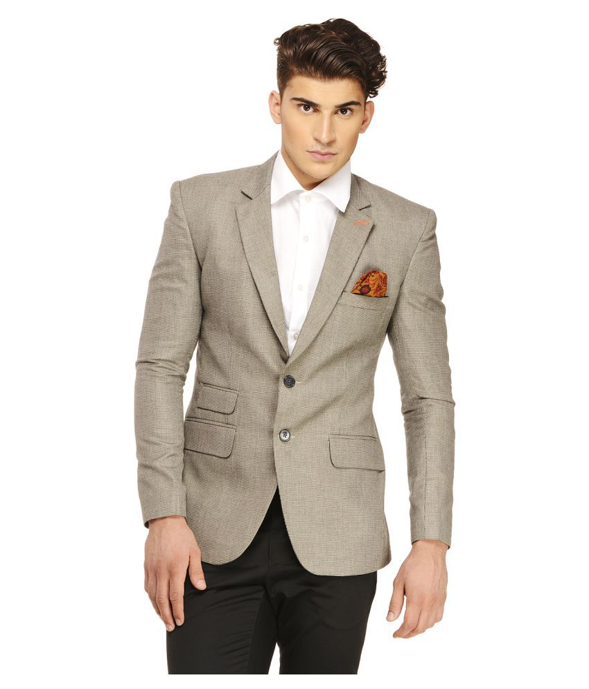 Ennoble Grey Solid Casual Tuxedo