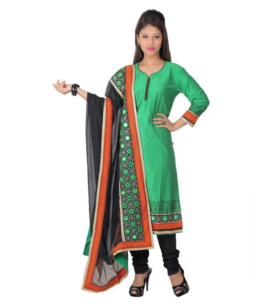 Span Green Silk Dress Material