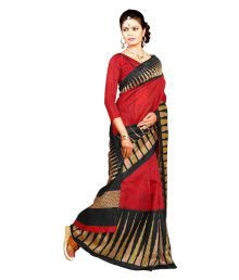 Vardan Prints Red Polycotton Saree