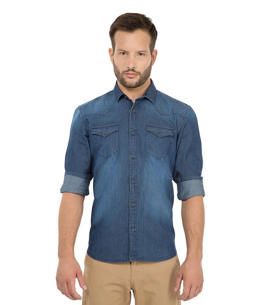 Highlander Navy Casuals Slim Fit Shirt