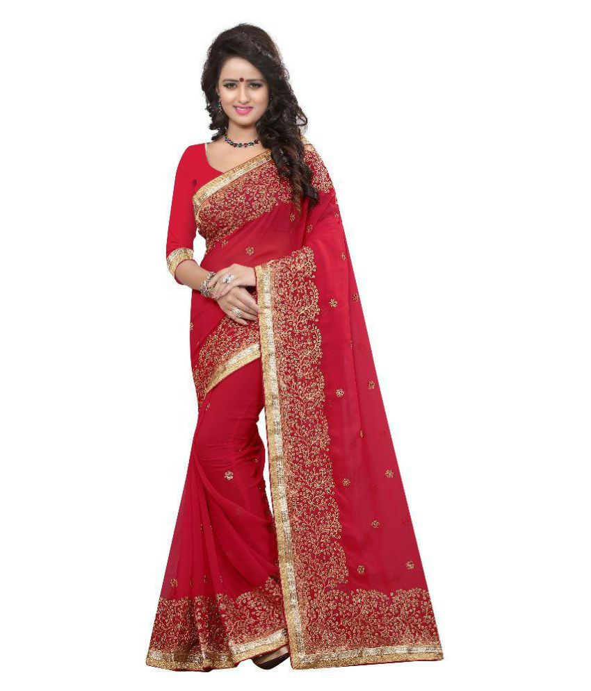 GFD Shoppe Red Georgette Saree